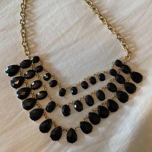 Francescas Black and Gold Statement Necklace
